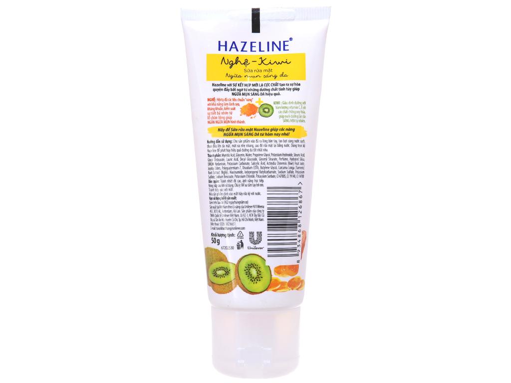 Sữa rửa mặt Hazeline ngừa mụn sáng da nghệ Kiwi 50g 3