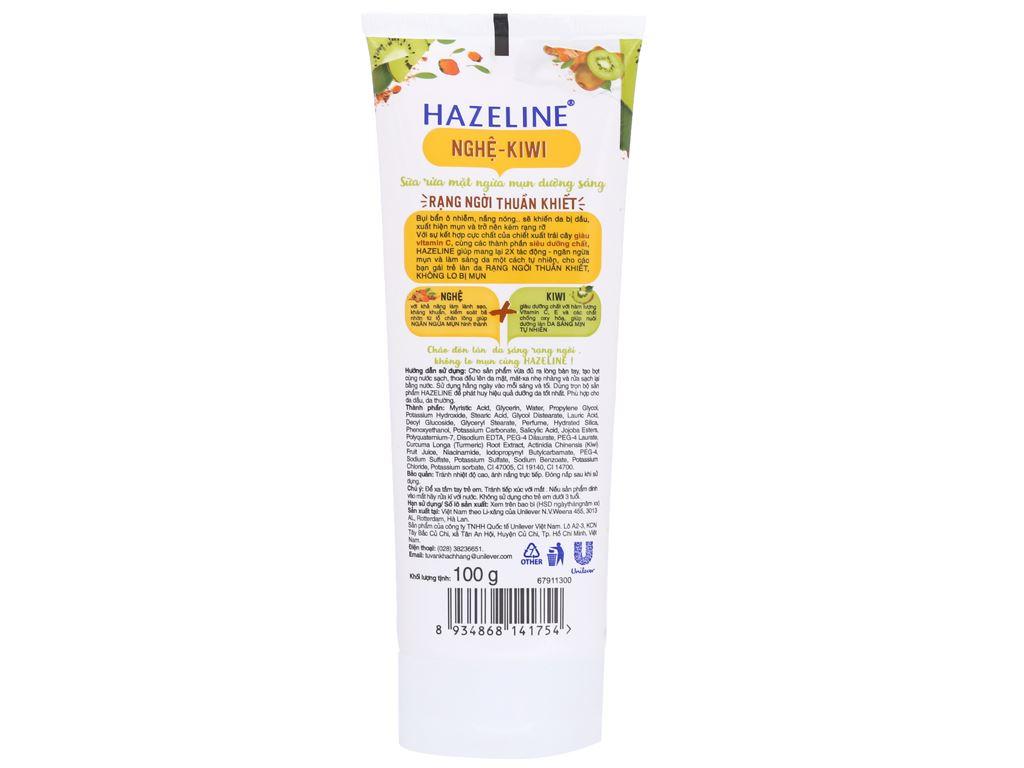 Sữa rửa mặt ngừa mụn dưỡng sáng Hazeline nghệ Kiwi 100g 6