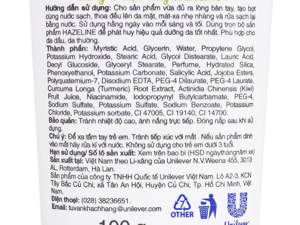 Sữa rửa mặt ngừa mụn dưỡng sáng Hazeline nghệ Kiwi 100g 7