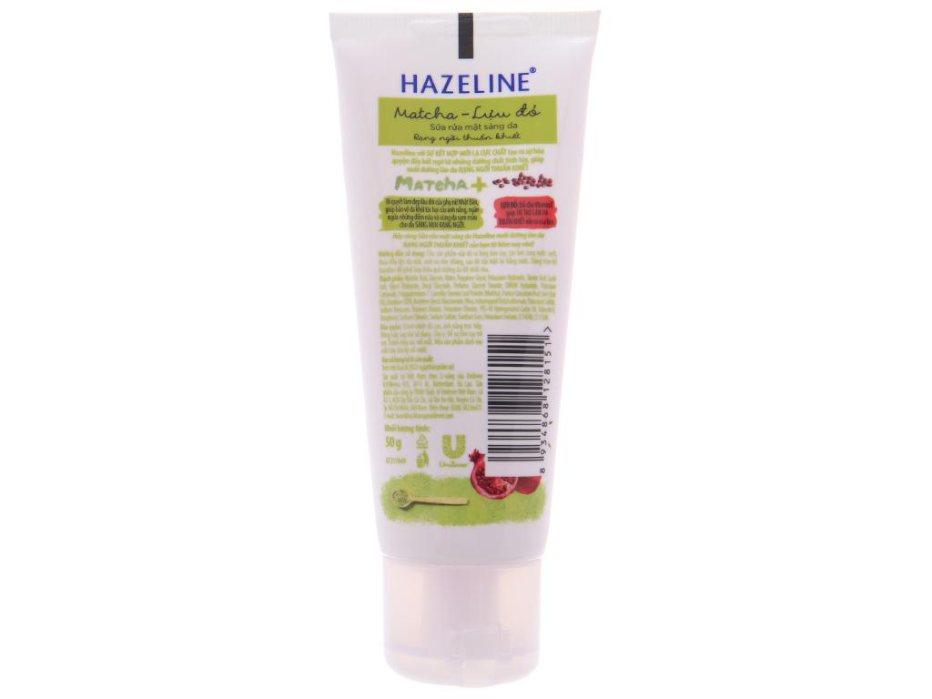 Sữa rửa mặt Hazeline sáng da trà xanh lựu đỏ 50g 4