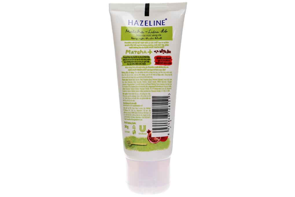 Sữa rửa mặt sáng da Hazeline Matcha lựu đỏ 50g