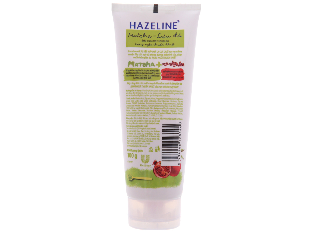 Sữa rửa mặt sáng da Hazeline Matcha lựu đỏ 100g 3