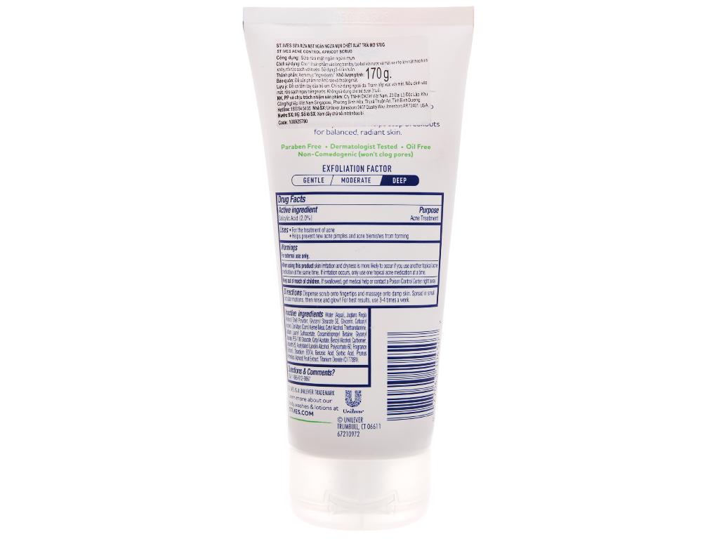 Sữa rửa mặt ST.IVES ngăn ngừa mụn chiết xuất trái mơ 170g 3
