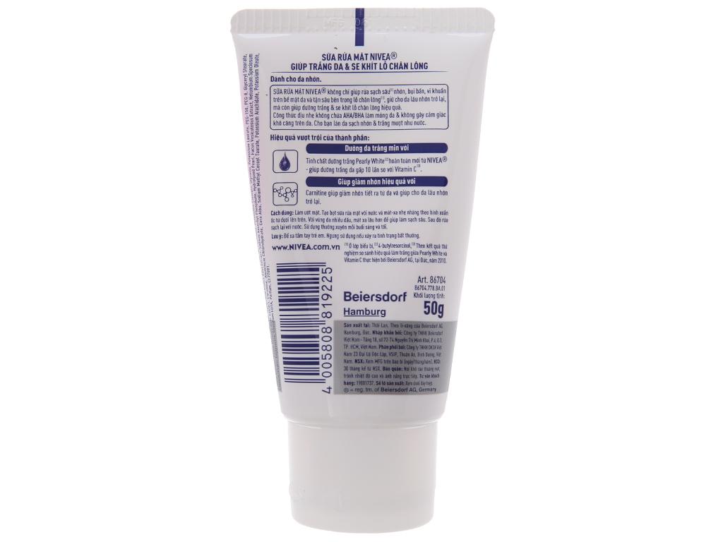Sữa rửa mặt Nivea sạch nhờn dưỡng trắng 50g 3