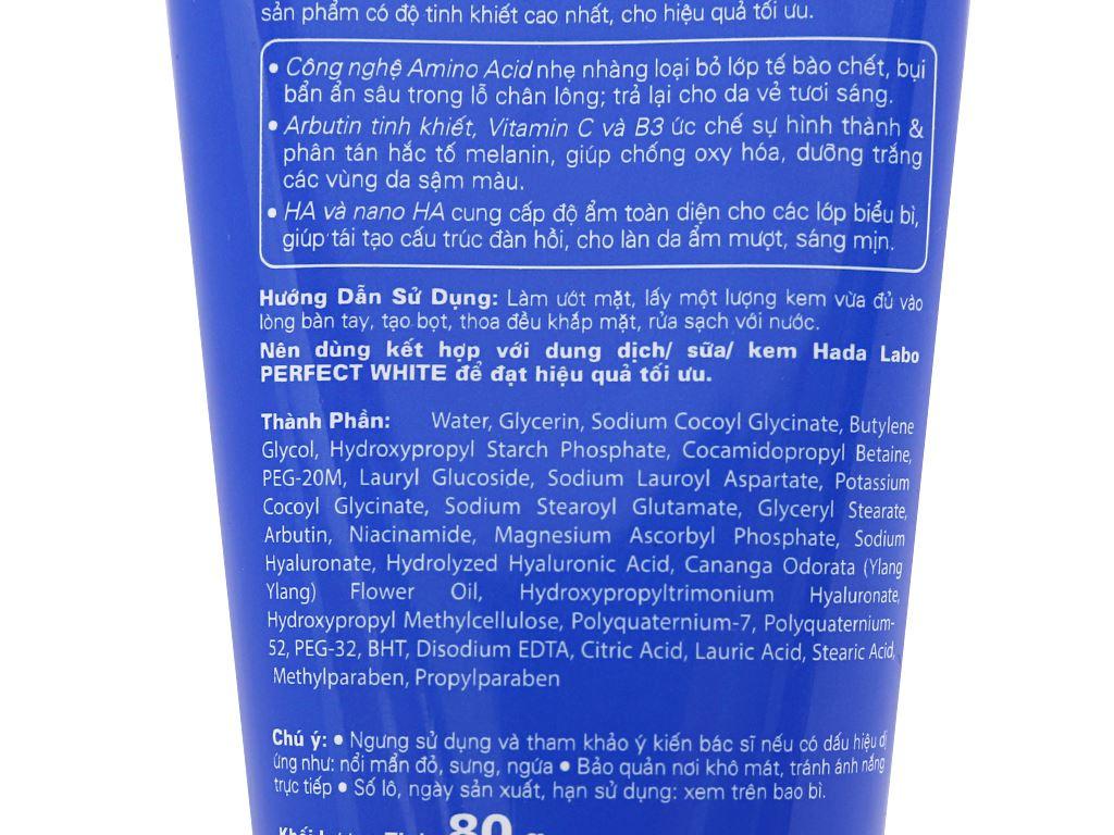 Kem rửa mặt dưỡng trắng Hada Labo Perfect White 80g 99