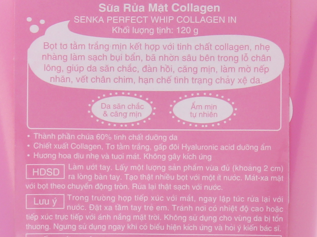 Sữa rửa mặt Collagen Senka Perfect Whip 120g 6