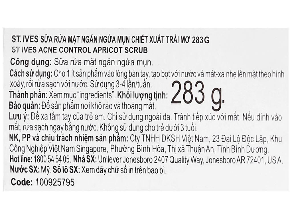 Sữa rửa mặt ngăn ngừa mụn ST.IVES chiết xuất trái mơ 283g 3