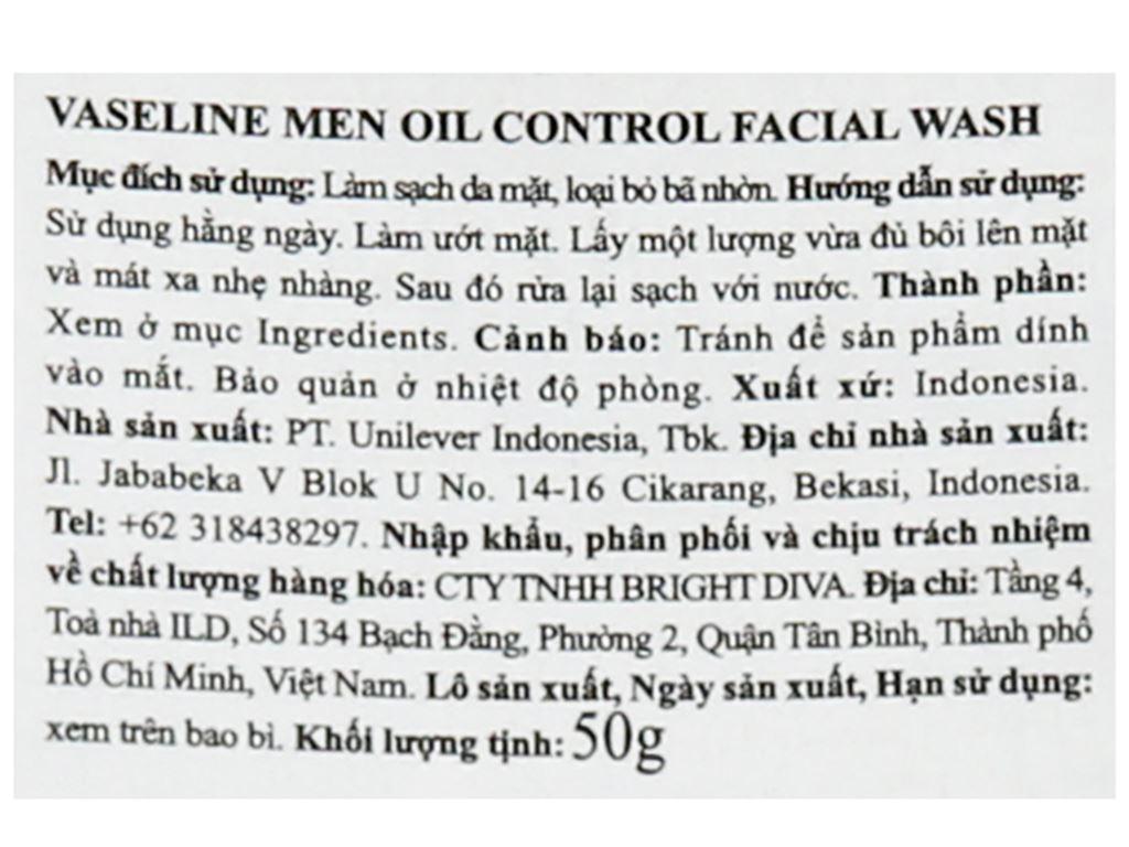 Gel rửa mặt kiểm soát dầu Vaseline Men 50g 3
