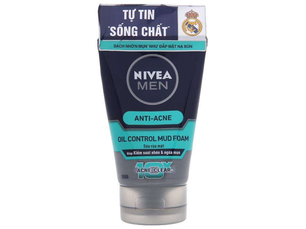 Sữa rửa mặt Nivea Men kiểm soát nhờn ngừa mụn 100g 2