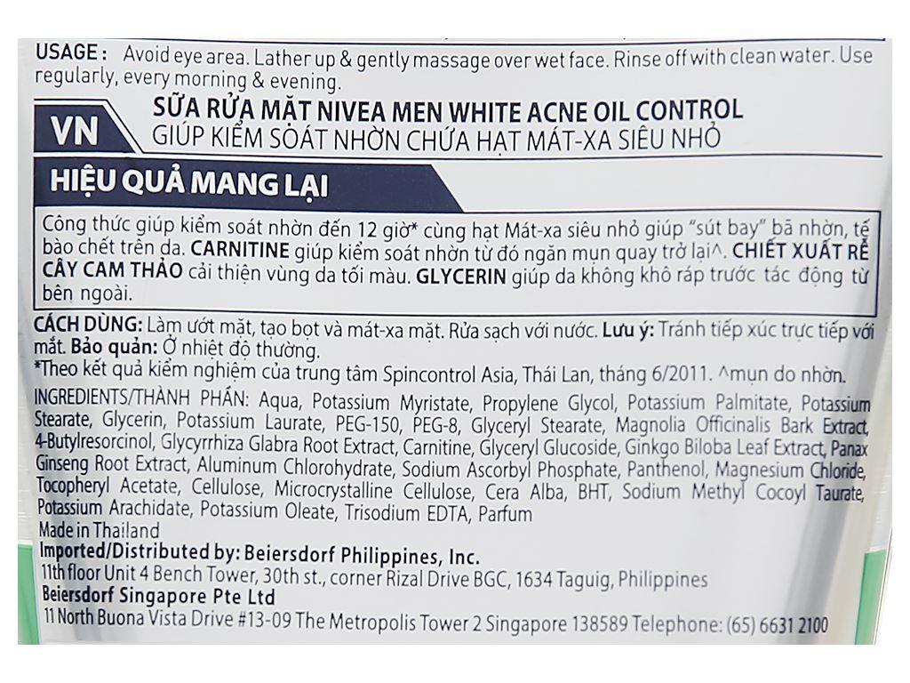 Sữa rửa mặt Nivea kiểm soát nhờn có hạt massage 100g 3