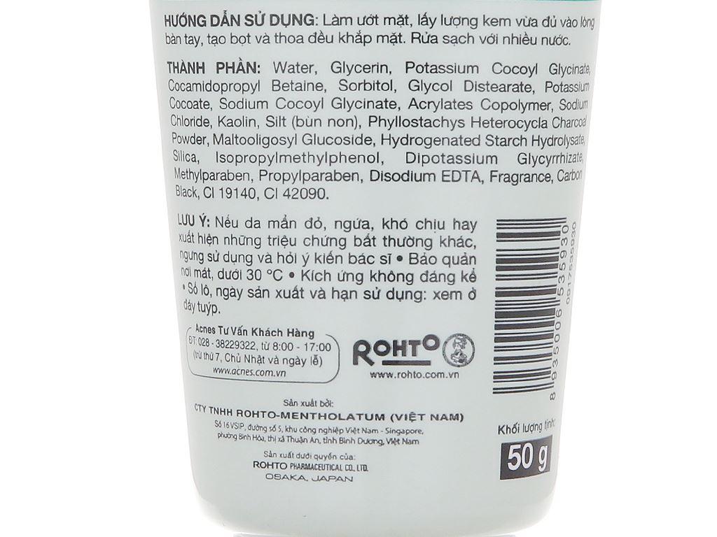 Bùn non rửa mặt Acnes dưỡng sáng 50g 5