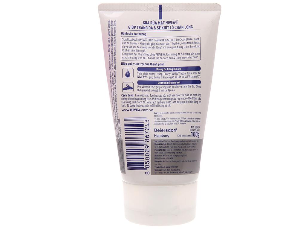 Sữa rửa mặt Nivea sạch sâu dưỡng trắng 100g 1
