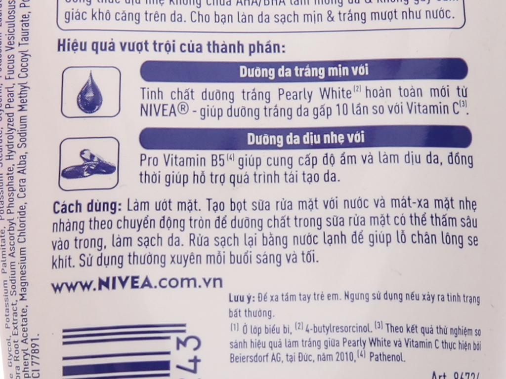 Sữa rửa mặt Nivea sạch sâu dưỡng trắng 100g 3