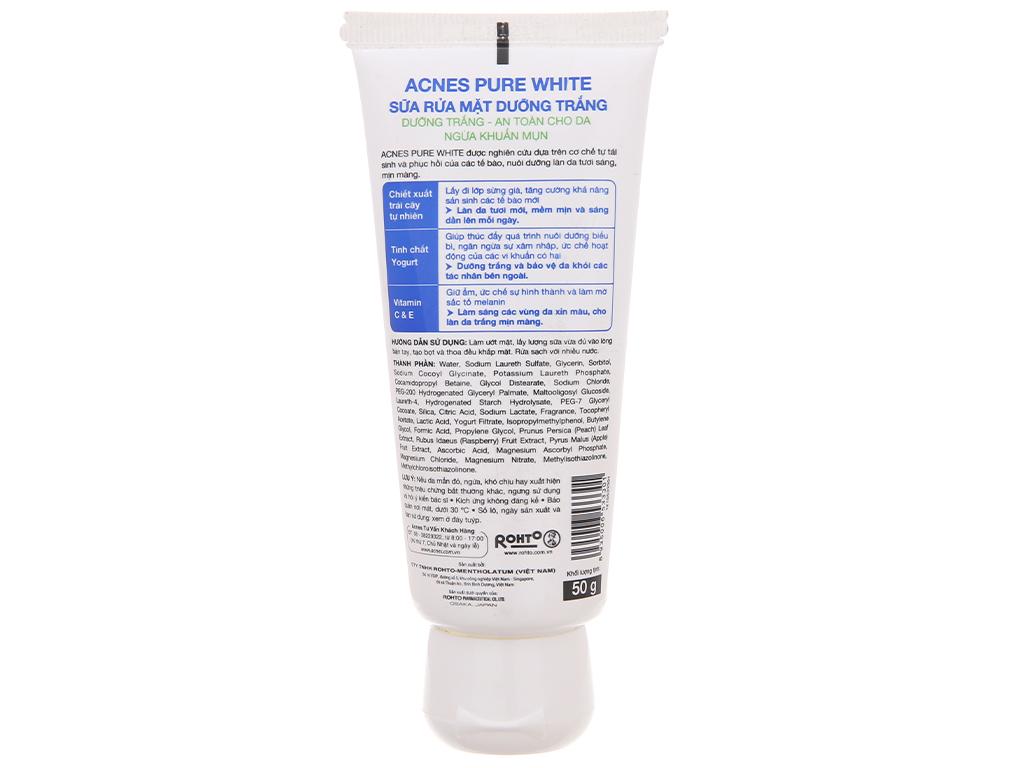 Sữa rửa mặt Acnes Pure White dưỡng trắng 50g 3