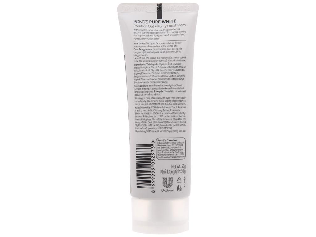 Sữa rửa mặt PONDS pure white dưỡng trắng 50g 3