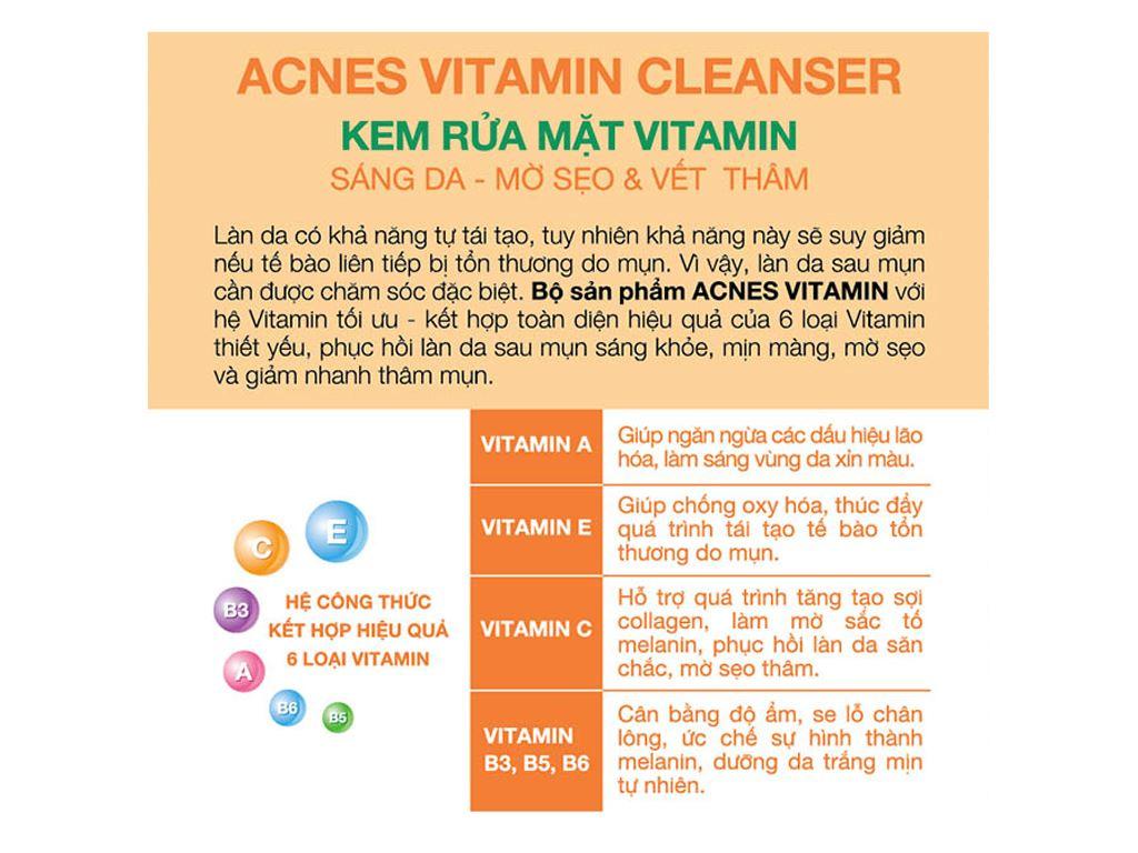 Kem rửa mặt Vitamin Acnes sáng da mờ sẹo và vết thâm 100g 5
