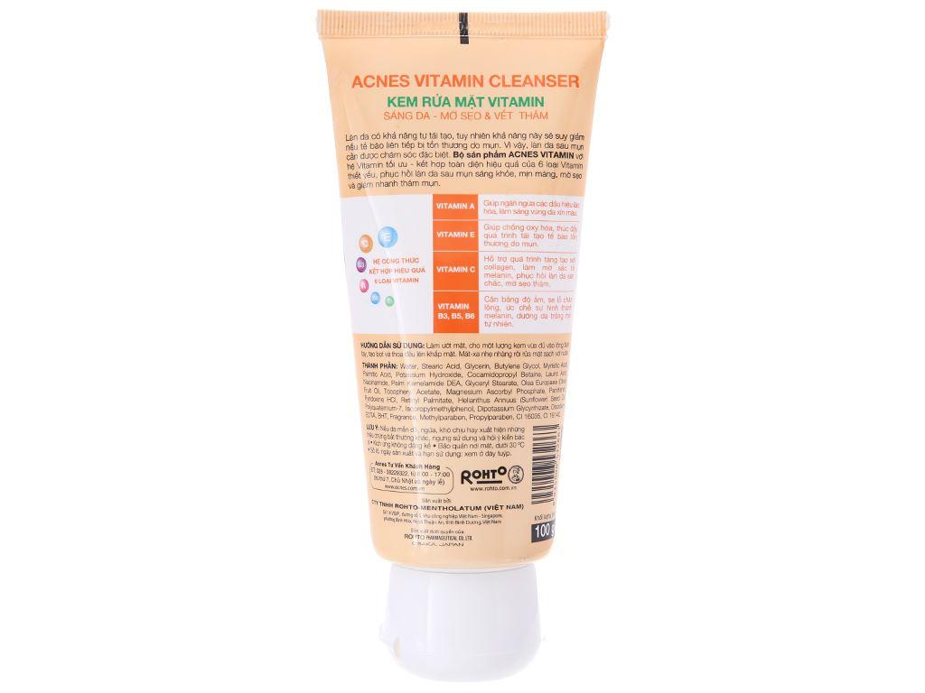 Kem rửa mặt Vitamin Acnes sáng da mờ sẹo và vết thâm 100g 3