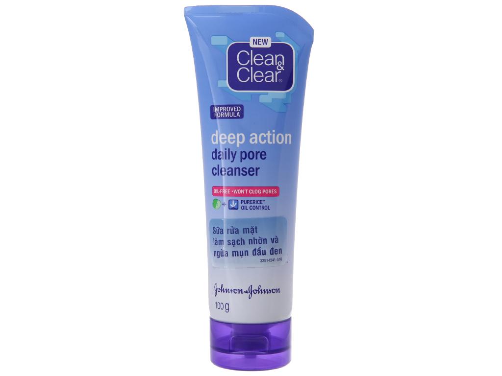 Sữa rửa mặt Clean & Clear sạch nhờn ngừa mụn đầu đen 100g 2