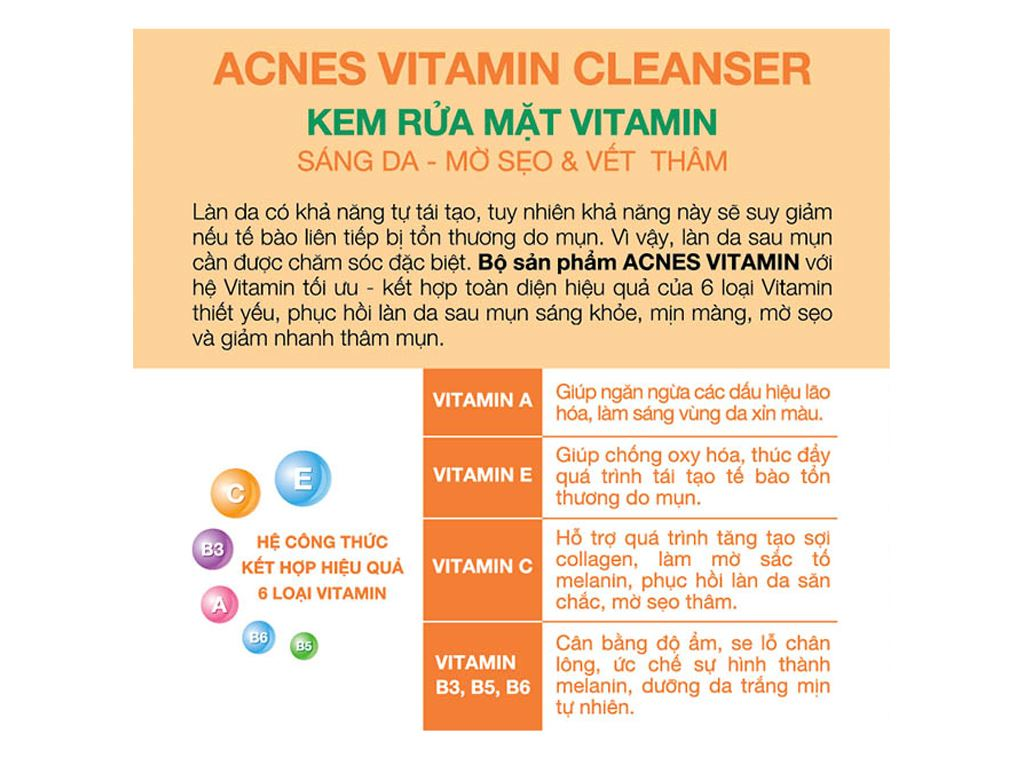 Kem rửa mặt Vitamin Acnes sáng da mờ sẹo và vết thâm 50g 4