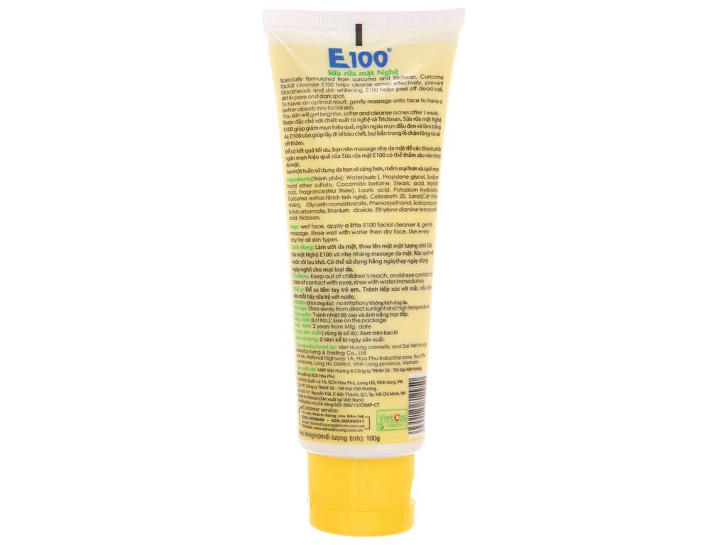 Sữa rửa mặt nghệ E100 có hạt massage 100g 3