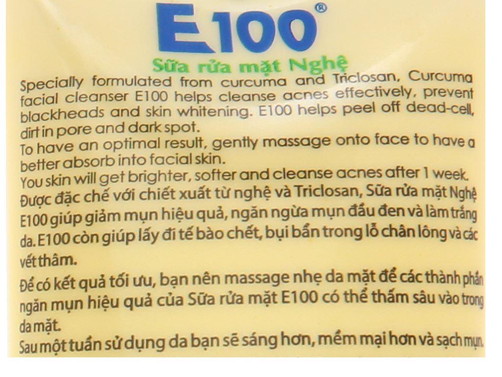 Sữa rửa mặt nghệ có hạt massage E100 100g 6