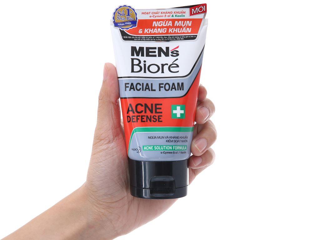 Sữa rửa mặt Men's Bioré ngừa mụn kháng khuẩn 100g 4