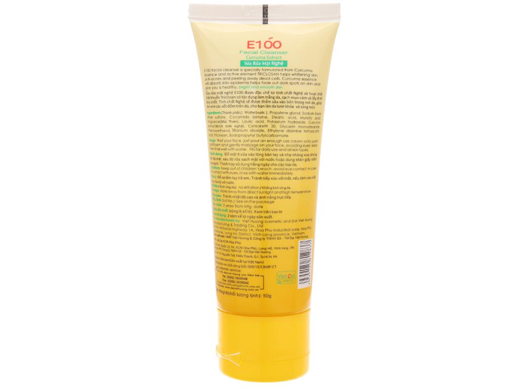 Sữa rửa mặt nghệ E100 50g 3