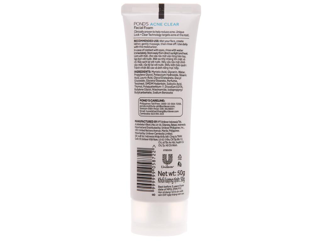 Sữa rửa mặt ngừa mụn Pond's Ance Clear 50g 6
