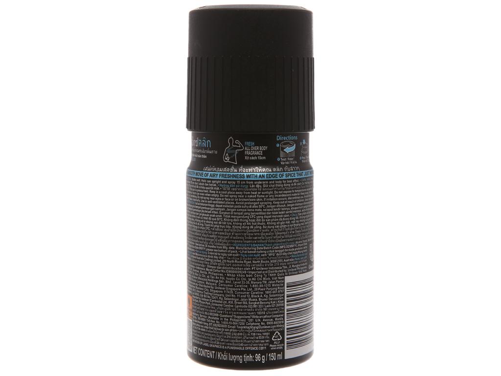Xịt khử mùi AXE Click chai 150ml 3