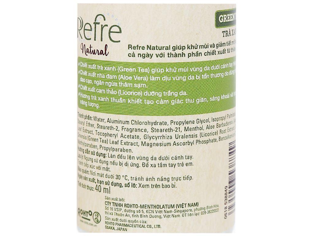 Lăn khử mùi Refre Natural hương trà xanh 40ml 5