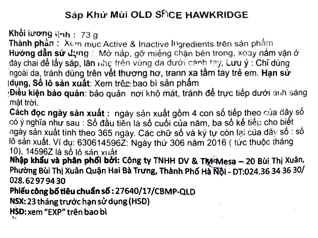 Sáp khử mùi Old Spice Hawkridge Anti-Perspirant Deodorant 73g 3