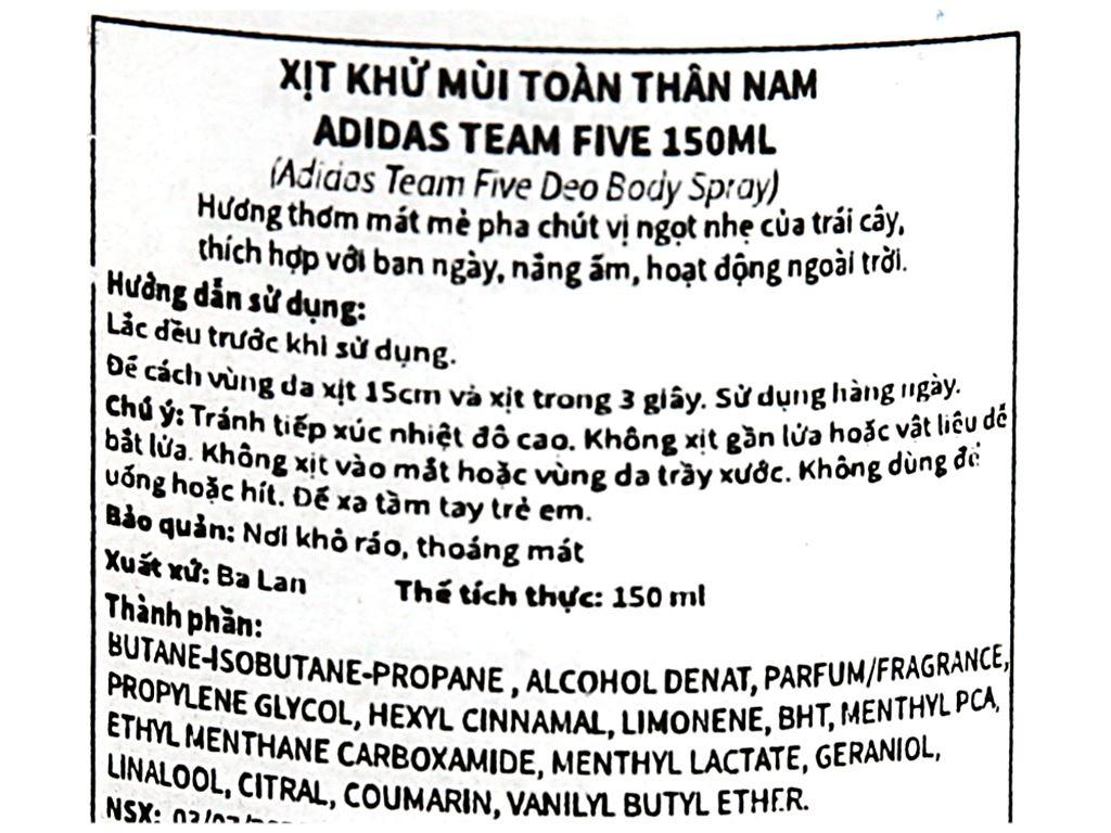 Xịt khử mùi toàn thân nam Adidas Team Five ngăn mồ hôi 150ml 4