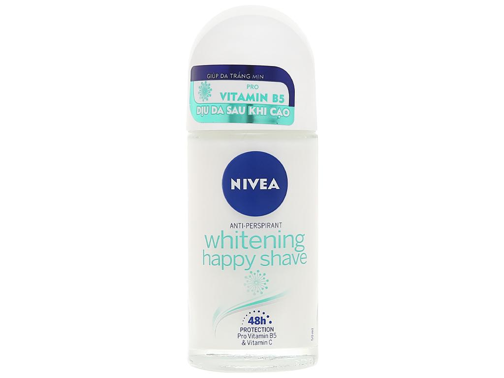 Lăn khử mùi Nivea Whitening Happy Shave trắng mịn làm dịu da 50ml 1