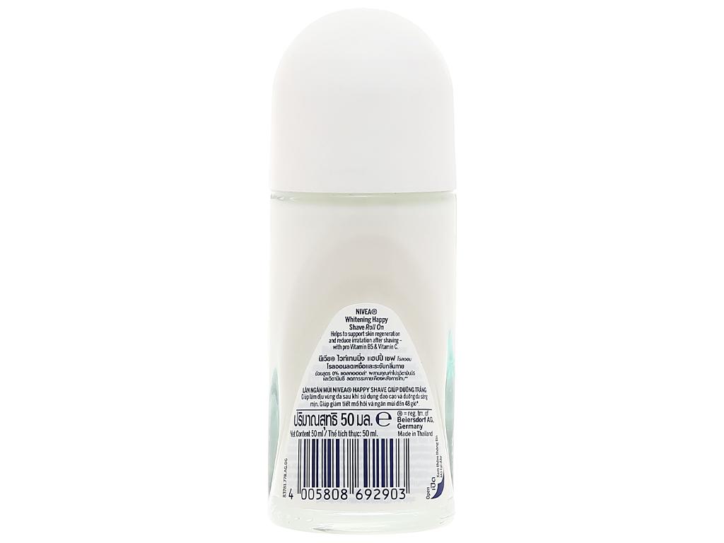 Lăn khử mùi Nivea Whitening Happy Shave trắng mịn làm dịu da 50ml 2