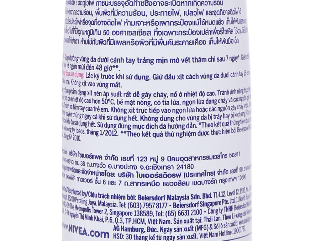Xịt ngăn mùi Nivea Extra Whitening trắng mịn mờ vết thâm 150ml 3