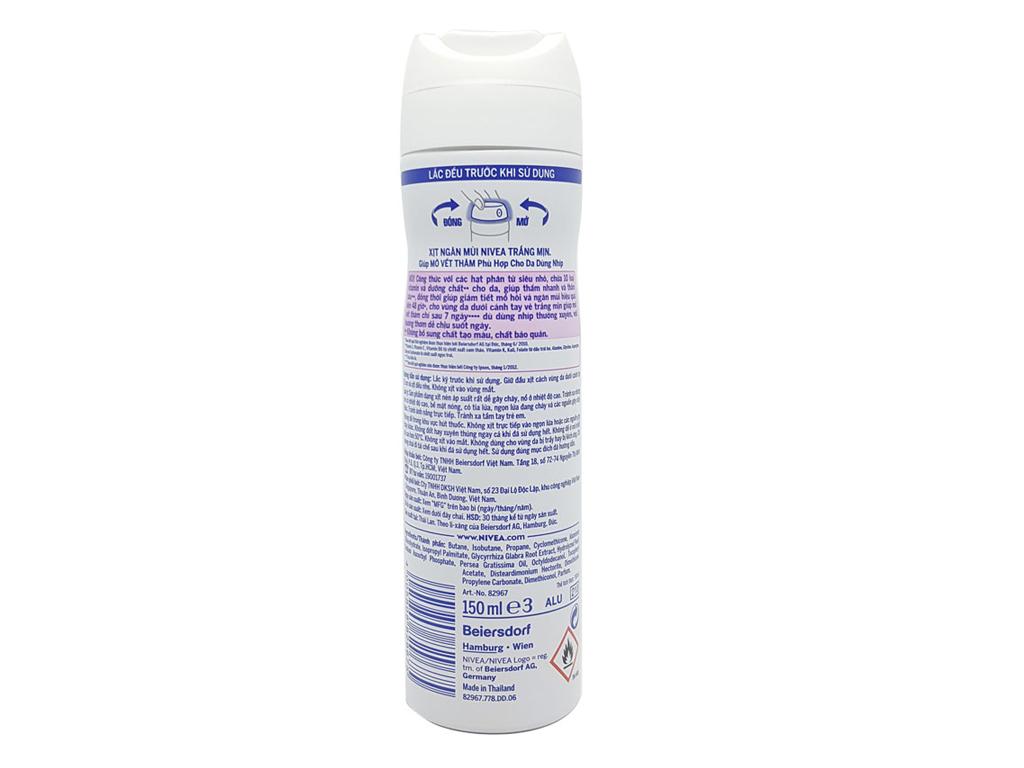Xịt khử mùi Nivea Extra Whitening chai 150ml 3