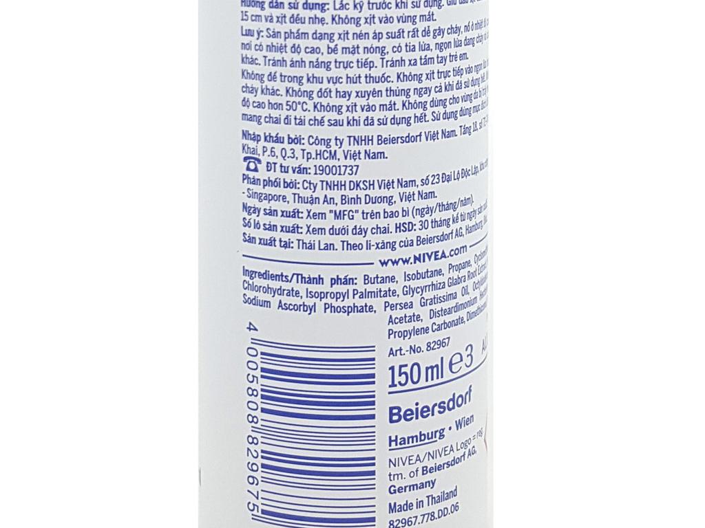 Xịt khử mùi Nivea Extra Whitening chai 150ml 4