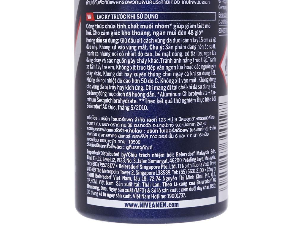 Xịt ngăn mùi Nivea Men Dry Impact khô thoáng 150ml 3
