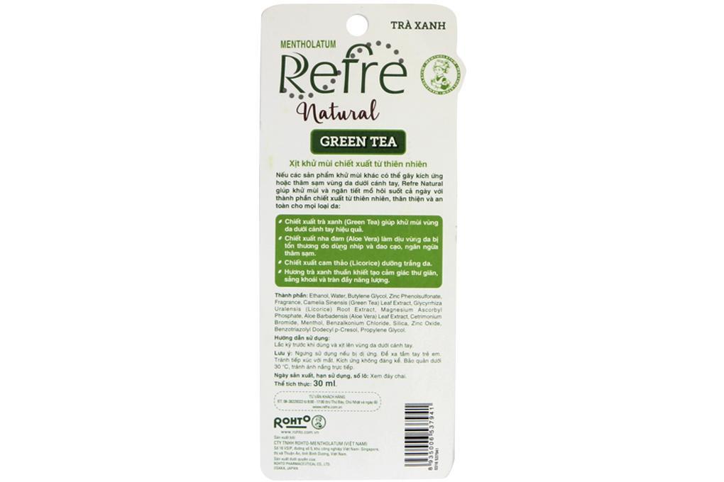 Xịt khử mùi Refre Natural chai 30ml 3