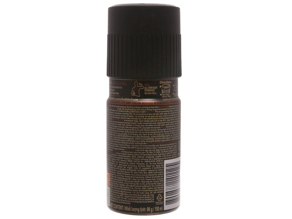 Xịt khử mùi AXE Dark Temptation hương chocolate chai 150ml 3
