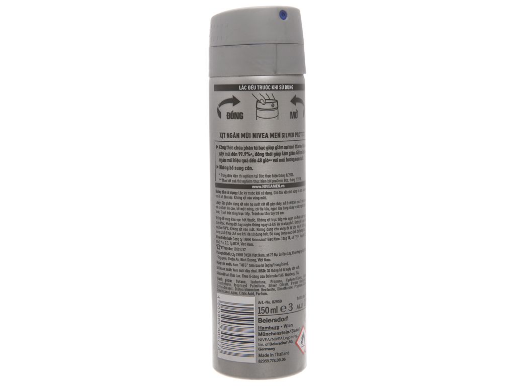 Xịt khử mùi Nivea Men Silver Protect chai 150ml 3