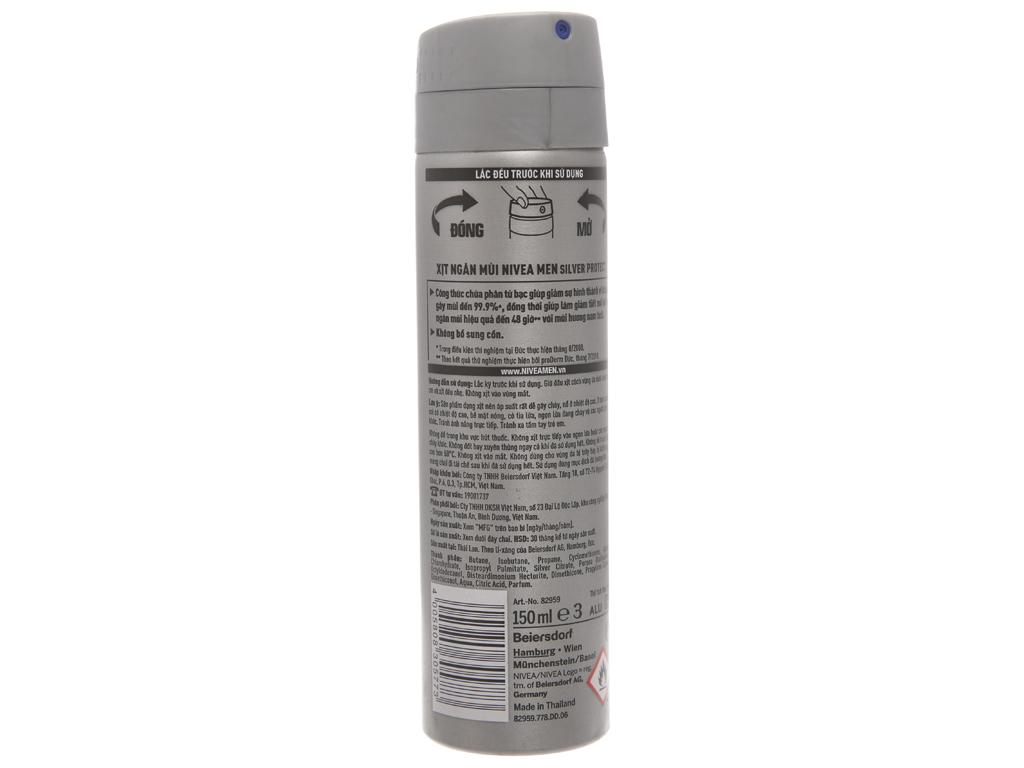 Xịt ngăn mùi Nivea Men Silver Protect 150ml 3