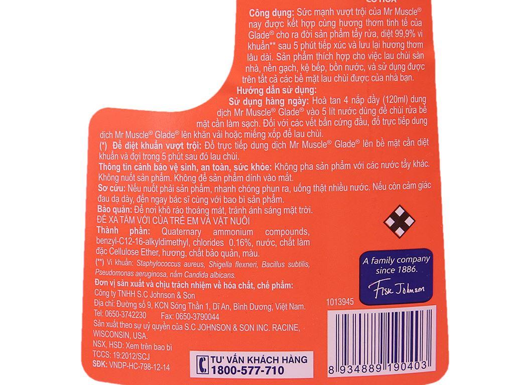Nước lau sàn Mr Muscle Glade hương cỏ hoa chai 1 lít 4