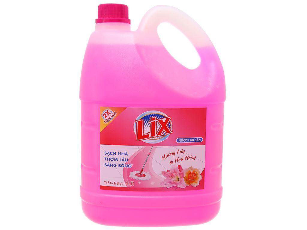Nước lau sàn Lix hoa lily & hoa hồng 4L 2