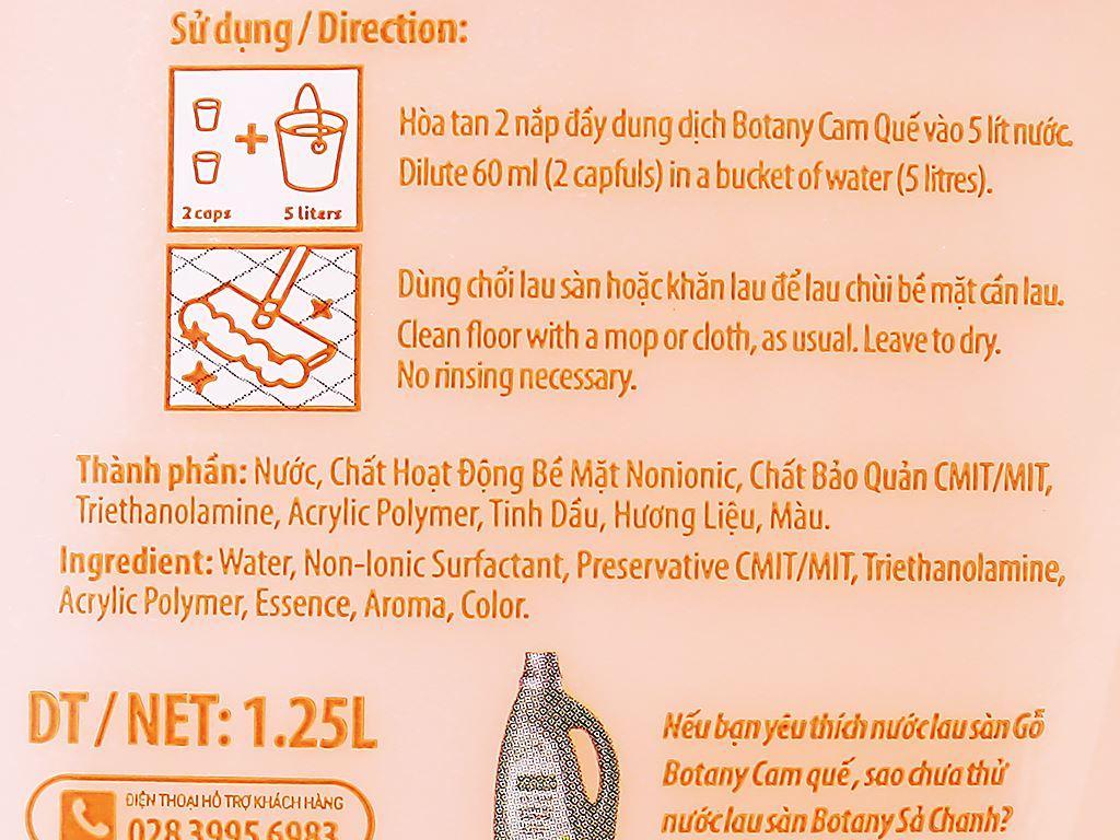 Nước lau sàn Botany dành cho sàn gỗ tinh dầu cam quế chai 1.25 lít 6