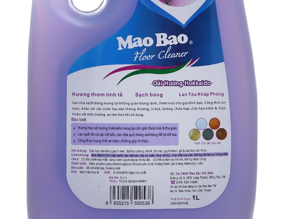 Nước lau sàn Mao Bao hương hoa Oải Hương 1L 4