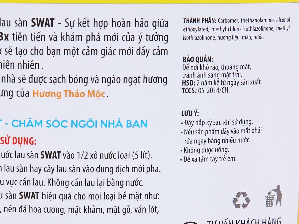 Nước lau sàn Swat hương thảo mộc can 4kg 3
