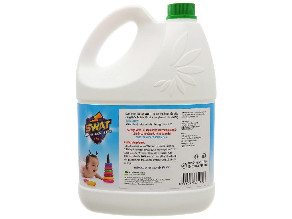 Nước lau sàn Swat hương hoa hồng xanh can 4kg 2