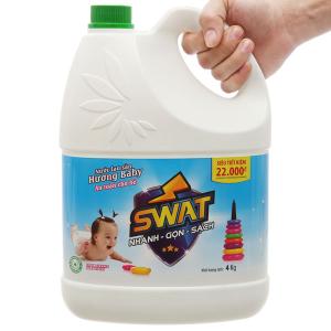 Nước lau sàn Swat hương hoa hồng xanh can 4kg