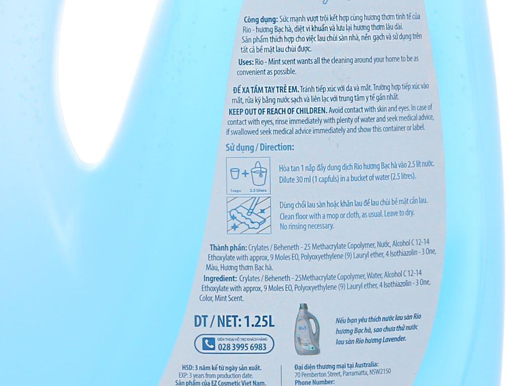Nước lau sàn Rio hương bạc hà chai 1.25 lít 3